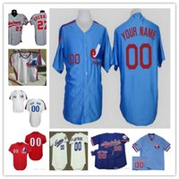 Wholesale Grey Pinstripe - Custom Montreal Expos Mens Womens Youth Kid White Pinstripe Royal Blue 1982 Cooperstown Throwback Customized Stitched Baseball Jerseys S-5XL