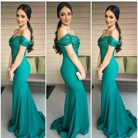 Wholesale Top Nude Girls - 2017 Dark Green Off the Shoulder Top Sequins Mermaid Evening Dresses Elegant Sweep Train Prom Dresses Long Custom Made Girls Party Gowns