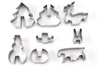 рождественские наборы резаков печенья оптовых-Главная сад выпечки формы горячие 8 шт./ компл. DIY нержавеющей стали формы для выпечки 3D Рождество Cookie Cutter
