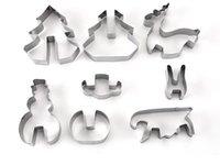 paslanmaz çelik bakeware toptan satış-Ev Bahçe Pişirme Kalıpları Sıcak 8 Adet / takım DIY Paslanmaz Çelik Bakeware 3D Noel Çerez Kesici