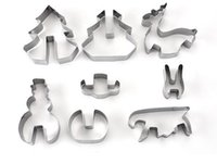 Wholesale Wholesale Metal Christmas Cookie Cutters - Hot 8PCS  Set DIY Stainless Steel Bakeware 3D Christmas Cookie Cutter