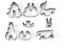 set de emporte-pièces en métal achat en gros de-Maison Jardin Cuisson Moules Chaude 8 PCS / Set DIY En Acier Inoxydable Ustensiles de Cuisson 3D Noël Cookie Cutter