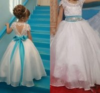 Wholesale Open Back Pageant Dresses - Flower Girls Dresses Jewel Cap Sleeves Top Lace Sash Bow Beads A Line Girls Pageant Dress With Hollow Open Back Kids Birthday Gowns