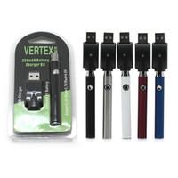 Wholesale Free Vertex - Vertex L0 Preheat Battery 510 Thread Charger Blister Kit 350mAh Variable Voltage Vape Pen Battery 5 Colors Available DHL Free