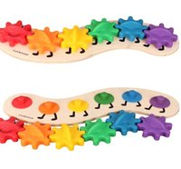 Wholesale toy colorful caterpillars for sale - Group buy 35CM Kids Colorful Gear Caterpillar Toys Wooden toy Educational Toys Wood Intelligence Baby DIY Toy