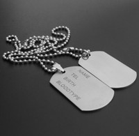 Wholesale Gold Ball Chain Necklace Woman - 2 Pieces Mens Matte Military Army Stainless Steel Blank Double Dog Tag Necklace Charm Pendant Necklace Ball Chain For Men Women