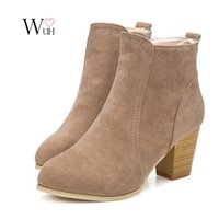 Wholesale Winter Short Thick Heel Shoes - Wholesale-2016 Autumn winter short cylinder boots high heels boots shoes Martin boots women ankle boots thick scrub