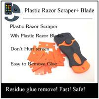 Wholesale Automotive Plastics - Free shipping 10PCS 1.5 inch Automotive Double Edged Plastic Razor Blades and 1PC Mini Razor Scraper For Glue Removing Squeegee