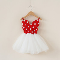 robe de fête de dentelle rouge bébé achat en gros de-Filles Robe Dot Robes Rouges Mesh Dentelle Jupes Baby Party Jupe Avec Bretelles-Tutu Robe Little Girls 2016 Nouvel Été