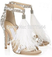 Shinny Rhinestone Lady Fringed Fur Sandals Chaussures Open Toe Evening Party Robes de soirée Crystal Nupti Talons hauts Chaussures Femme