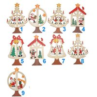Wholesale Wooden Santa - Hot Christmas Ornaments Christmas Tree Santa Claus Bell Star Bow Decorations Home Festival hanging Ornaments wholesale, free shipping