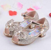 Wholesale Wedding Children Shoe - Enfants 2016 Children Princess Sandals Kids Girls Wedding Shoes High Heels Dress Shoes Party Shoes For Girls Pink Blue Gold HJIA439