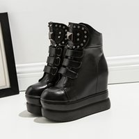 Wholesale Womens Wedge Heel Motorcycle Boots - 2018 new rivets wedge high heels knight boots for womens black PU leather ankle boots 2018