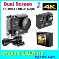 Wholesale Hd Car Photos - Wifi Action Camcorder Dual-Screen Original EKEN H8 Ultra HD 4K 30fps 170 Degree Wide Angle Waterproof 12MP Photo Sports DV Camera Car DVR