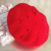 Wholesale Wholesale Felt Hats For Children - 2016 Baby Girls Pearl Wool Felt Beret Multicolor Painter Hat for Children