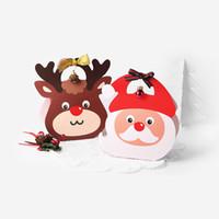 ingrosso scatole per mele caramelle-50 x Elk Pattern Kraft Paper Retro Candy Box.Portable Natale Babbo Natale Apple Box Kids Gift Decor Boxes