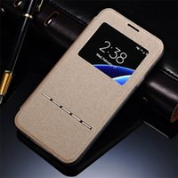 Wholesale S4 Case Window Card - Leather Case For Samsung Galaxy 7 Galaxy S4 mini i phone 6s plus Case Cover Smart Front Window View Leather Flip Case For iphone 6 6S 5 5S