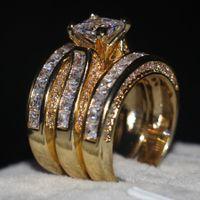 sarı düğün yüzük seti toptan satış-Vecalon Moda 3-in-1 Kadınlar yüzük Prenses kesim 7mm Benzetilmiş elmas Cz Sarı Altın 925 Ayar gümüş düğün Band yüzük Set
