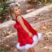 Wholesale Down Feathers Wholesale - New sleeveless children's dress Super cute gift Villi beads red girl Christmas dress 1-5 year old free shopping