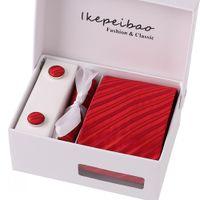 Wholesale necktie custom for sale - Group buy Ikepeibao Custom Brand Men Ties Purple Checked Blue Dots Necktie Sets Cufflinks Hankies with Gift Box Packing