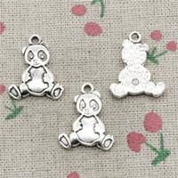 ingrosso gioielli porta i fascini-66pcs charms panda bear 23 * 18mm argento antico pendente in lega di zinco gioielli fai da te fatto a mano collana di bracciale raccordo