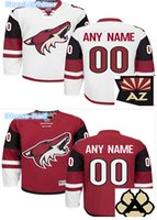 Wholesale Road Number - Customized Coyotes Mens Arizona 2015 Premier Home put any name and number Road Phoenix Throwback Ice Hockey Jersey