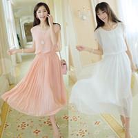 Wholesale Noble Cozy Summer Dress - Wholesale- 2017 Hot Summer Style Summer Dress Cozy Women Dress Noble Sleeveless Chiffon Dress Korean Fashion Sweet Solid Dresses Vestidos
