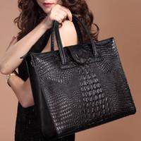 Wholesale Crocodile Luxury Bag - Women Bag Real Leather Handbag Good Quality Tote Bag Luxury Crocodile Bone Marrow Shorlder bag Messenger Purse Women