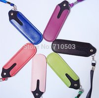 Wholesale Ego Type Lanyards - 100pcs convenient carrying PU Ego leather lanyard neck sling necklace type for ego EVOD e cigarette atomizer
