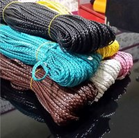 Wholesale Leather Meter Jewelry - PU Leather Braided Flat Cord Beading String Wire For Necklacee Bracelets Jewelry Making 5mm 100 Meter 6 Colors