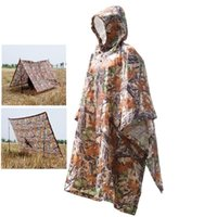 3 in 1 Outdoor Military Travel Camouflage Raincoat Poncho Zaino Copertura di pioggia impermeabile tenda Shelter Mat Tendaggio Alpinismo Arrampicata