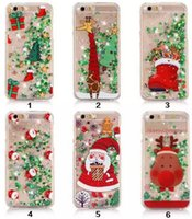 Wholesale Iphone Christmas Santa Case - Christmas tree Quicksand Star Santa Claus Clear Liquid Glitter Phone Cover for iPhone 7 7plus 6 6S PLUS Samsung S6 S7 S7 edge