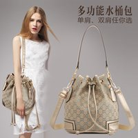 Wholesale Drawstring Shoulder Handbag - 2016 Vintage Drawstring Bucket Bag Women Shoulder Bag Ladies Tote Crossbody Messenger Bags Designer Handbag BB1417