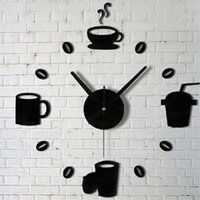 ingrosso disegni di caffè della parete della cucina-Tazze di caffè Kitchen Wall Art Mirror Clock Design moderno Home Decoration Decor Wall Stickers per soggiorno