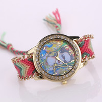 Discount geneva watches crystal diamond - Colorful Fashion Woman Geneva Fabric Knit Strap Crystal Diamond Watch Women Quartz Candy Jelly Watches free DHL