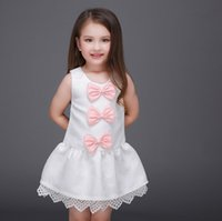 Wholesale Big Beautiful Clothing - 2016 Princess Big Girls Clothes Lace Hem 3 Bowknot Dresses Childrens Sleeveless Kids Clothing New Party Beautiful Dress KB463