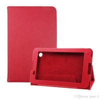Wholesale red inch tablet bundle online - New leechee Folding Folio stand Leather case for Lenovo A3300 inch Tablet PC Stand cover Magnetic bag
