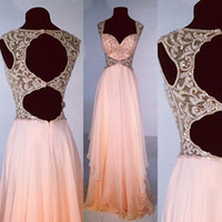 Wholesale Dress Embellished Side - Stunning Illusion Bodice Beaded Crystals Blush Prom Dresses Long Sheer Open Back Exquisite Embellished Chiffon Evening Party Gowns