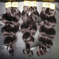 venda de fábrica cabelo humano venda por atacado-7A preço de fábrica 100% processado puro indiano do cabelo humano pacotes 5 pçs / lote 300g onda do corpo venda quente tecelagem rápido frete grátis DHL