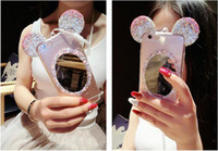 Wholesale Ear Mirror - Fashion 3D Cute Cartoon Bling Diamond Mickey Mouse Ears Case With Clear Mirror Cover Case For IPhone 5S 6 6s Plus 7 7 plus