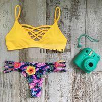 Wholesale Bud Bikini - 2016 new swimwear swimming suit for women push up bikini brazilian yellow bud bandage printing swimsuit bathing suit N71