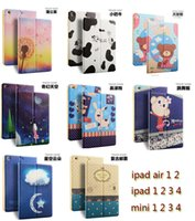 Wholesale Ipad Covers Retro - New smart Cartoon retro Pu leather case cover for iPad mini 1 2 3 mini 4 ipad 5 6 7 air 1 2 3 ipad 2 3 4 ipad Pro 12.9' with Stand Folding