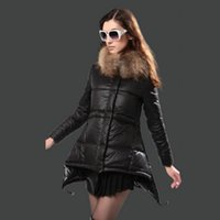 Wholesale Dress Hat Red Feathers - Ladies Jacket Puffer Duck Down Real Fur Trim Hood feather dress Outdoor Coats Women Clothing Fashion Parka
