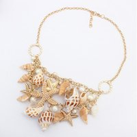 Wholesale Ocean Shell Pearls - Statement Necklace Jewelry High Quality Imitation Pearl Shell Alloy Starfish Fashion Women Ocean Style Pendants Necklaces Wholesale SN873