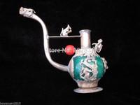 ejderhalar kurşun toptan satış-Toptan Çin Eski El Yapımı Yeşil / Kırmızı Yeşim Tibet Gümüş Ejderha Boru Lider Heykeli