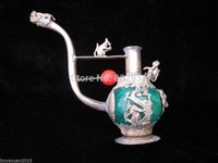 Wholesale Chinese Silver Statue - Wholesale Chinese Old Handmade Green   Red Jade Tibet Silver Dragon Pipe Leading Statue