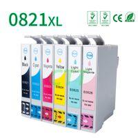 Wholesale Epson Photo Ink Cartridge - 6 Pack Ink Cartridges T0821 T0824-T0826 Compatible for Epson Stylus Photo TX700 TX800 TX710W TX650 TX810FW TX820FWD RX615 R270 R290 T50