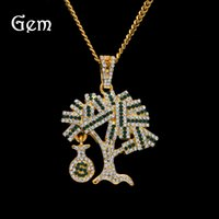 Hip Hop Dollars Tree Charm Pendentif Colliers Gold Plated Cool Hiphop Jewelry pour Boy Luxuious Street Accessories Wholesale