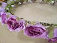 Wholesale Stoned Hair Bow Wholesale - dred rose flower Halo floral woodland wedding circlet & hair headpiece tiara, wedding girl's flower headdress