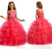organza sashes for sale - 2016 Hot Sale Ball Gown Flower Girl Dresses for Weddings One shoulder Sequins Beads Ruffles Sash Floor Length Girl s Pageant Dresses
